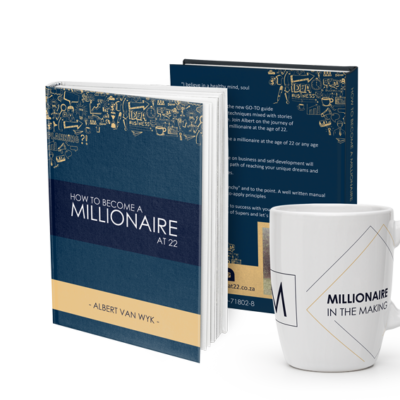 Millionaire at 22 book and mugs